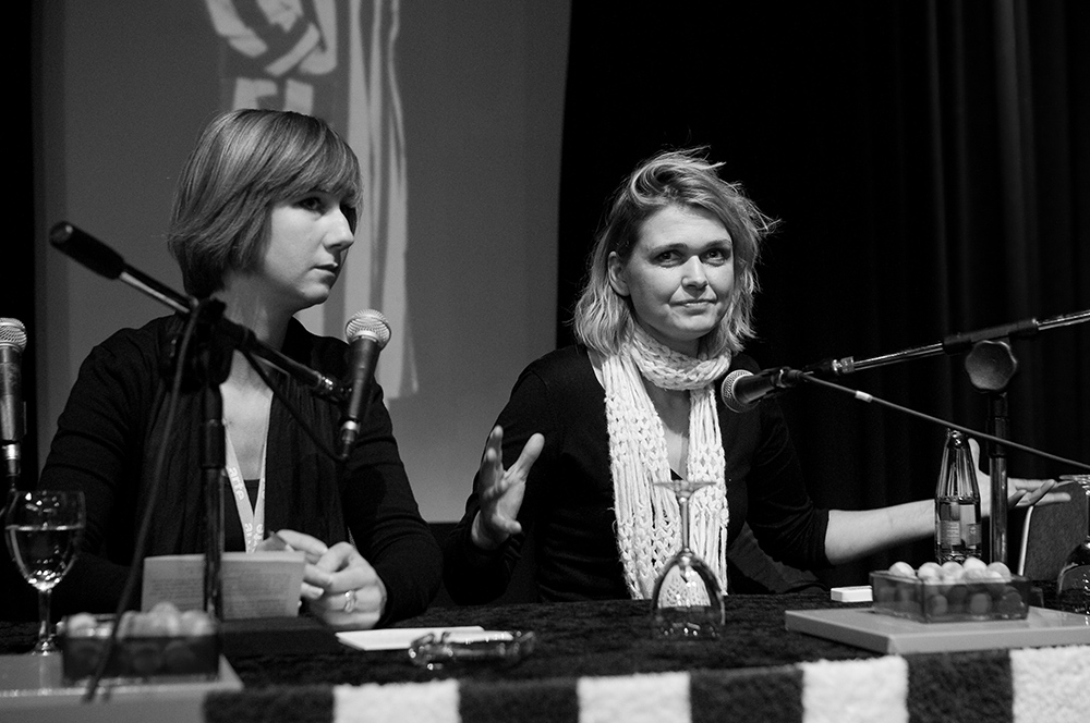 Andrea Reiter, Britta Wandaogo v.l. © Duisburger Filmwoche, Foto: Simon Bierwald