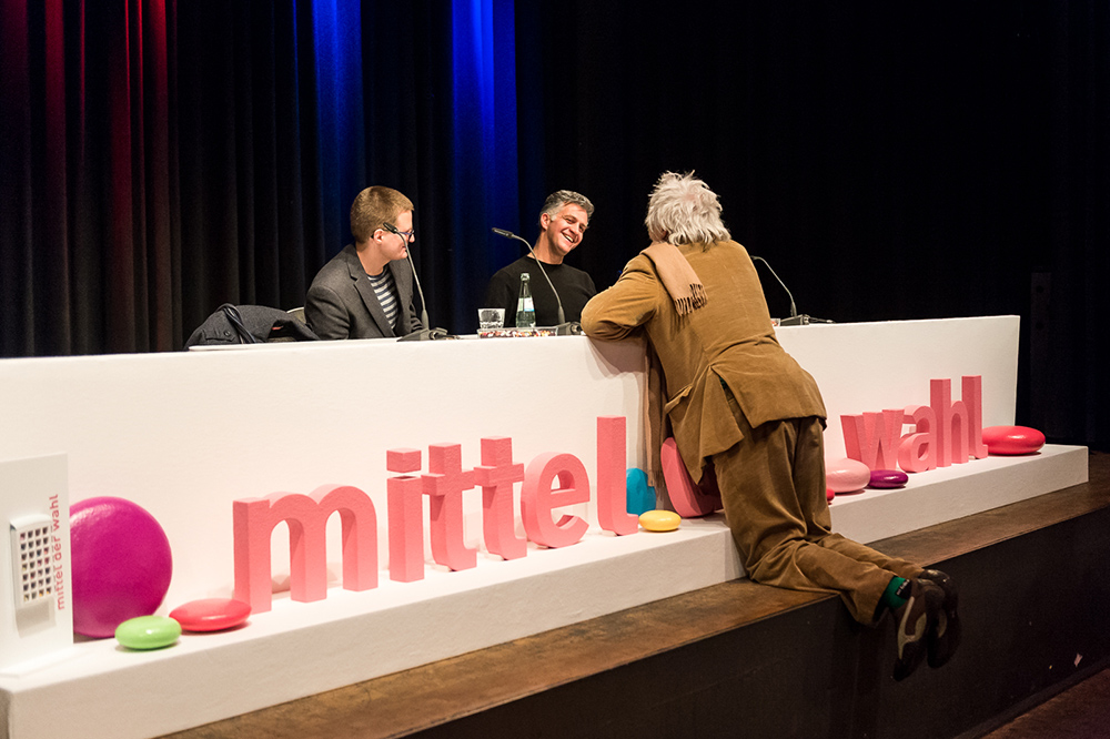 Joachim Schätz, Romuald Karmakar, Werner Ružička v.l. © Duisburger Filmwoche, Foto: Simon Bierwald