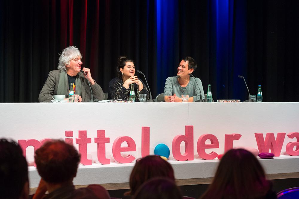 Werner Ružička, Helin Celik, Ascan Breuer v.l.  © Duisburger Filmwoche, Foto: Simon Bierwald